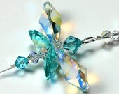 m/w Swarovski Crystal RARE AB Logo Wings Chakra Aqua Butterfly Firefly SunCatcher Car Charm Ornament, Includes Elements Tag for Authenticity