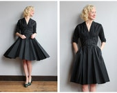 1950s Dress // Silver Heels Dress // vintage 50s taffeta dress