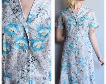 1950s Dress // Blue & Grey Floral Nylon Dress // vintage 50s dress