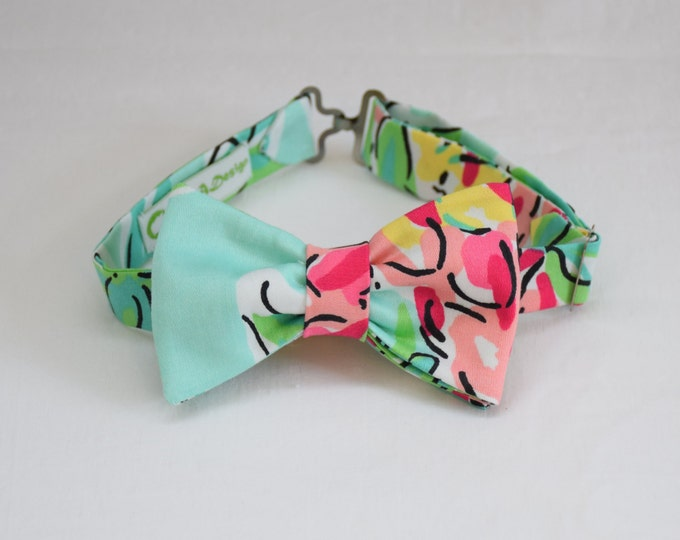 Boy's Lilly Bow Tie in aqua, pinks Spike The Punch, custom boy's bow tie, wedding accessory, toddler bow tie, ring bearer bow tie, handmade