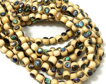 Whitewood with Abalone Shell Inlay, 6mm, Round, Natural Wood and Shell, Handmade Artisan Bead, 7.5-8 Inch Strand - ID 2183