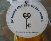 "Bridal Shower 3"" Custom Thank You Favor Tags - he found the key to my heart - For Wine or Champagne Bottles - Party Gift Favors - (50) Tags"