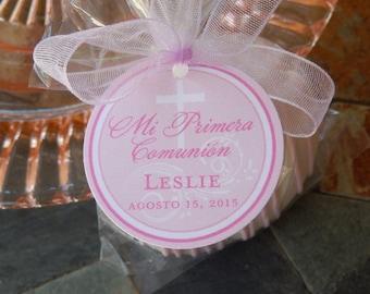 "Mi Primera Comunion Spanish 1st Communion Favor Tags - For Cake Pops - Lollipops - Cookies - Catholic Party Favors - (30) 1.5"" Printed Tags"
