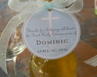 "First Holy Communion Thank You Custom Tags - For Mini Wine Bottles - Cake Pops - Lollipops - Cookies - Catholic Party Favors - (25) 2"" Tags"