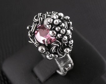 Engagement ring, light pink, light rose color, sterling silver, fine silver, cubic zircon, engagement, fantasy