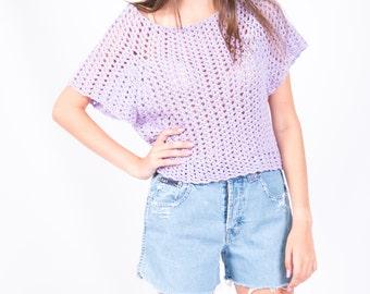 Vintage Lavender Purple Crochet Crop Top // Flutter Sleeves Boho Festival Fashion // Size Small // FREE SHIPPING