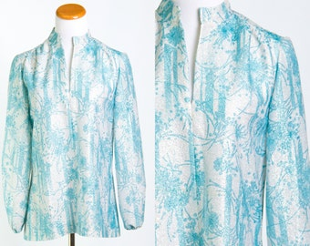 Vintage 1970's Silver Metallic & Turquoise Floral Print Boho Disco Blouse * Size Medium Large * FREE SHIPPING