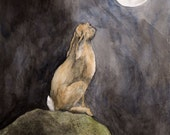 RESERVED for Lucy Talbot: Large Signed and Mounted Archival Quality 'Moon Gazing' fine art print
