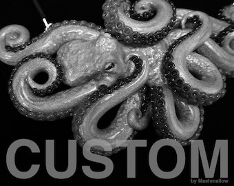 CUSTOM Large Anatomically Correct Octopus Necklace, Statement Necklace, Scientific Biology Jewelry, Marine Ocean Animal Pendant