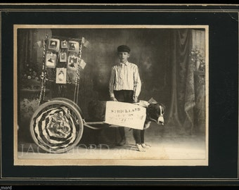 Antique Photo Montana Boy & His Dog with Advertising Cart