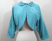 Quilted Bed Jacket - 1940s Hollywood glam - jeweled collar - S-M