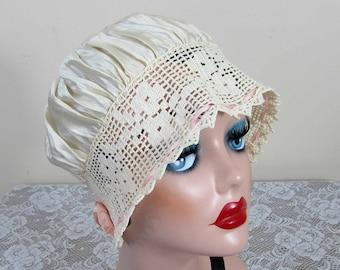 Silk Boudoir Cap / Night Cap - Ivory silk & crochet - pink silk ribbon - Edwardian