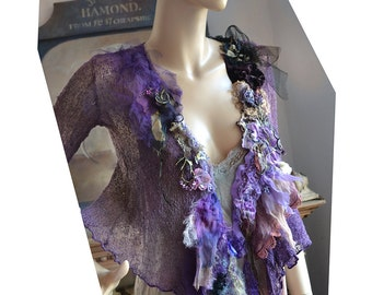 RESERVED Unique Art To Wear Delicate Jacket/Sweater WISTERIA Boho Victorian Style Hippie Gipsy Tattered