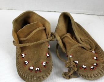 vintage brown minnetonka moccasins toddler girl shoes
