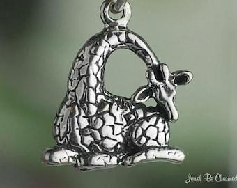Sterling Silver Sleepy Giraffe Charm African Animal Sweet Solid .925