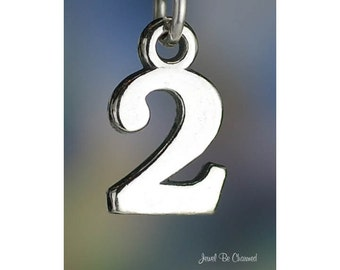 Number 2 Charm Sterling Silver Two Numeral Digit Age Date Solid .925