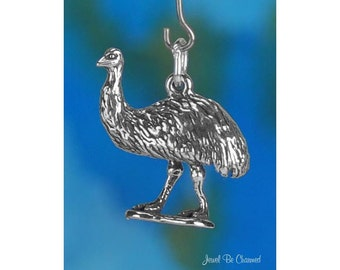 Sterling Silver Emu Charm Large Bird Australia Emus 3D Solid .925
