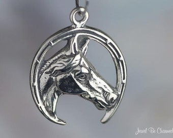 Sterling Silver Good Luck Horse in Horseshoe Charm Lucky Solid .925