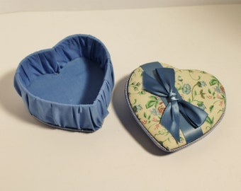 Blue Fabric Heart Shaped Music Box and Jewelry Holder