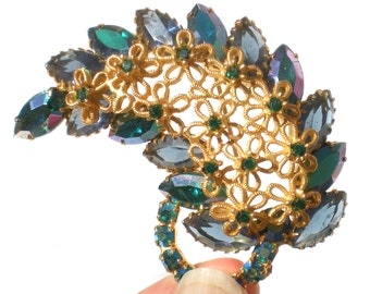 Green Rhinestone Leaf Brooch Vintage Jewelry with Aurora Borealis Marquise on Gold Tone with Flower Filigree