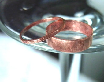 Stacking Rings, Set of 2 Rings, Skinny Ring 3mm band with 6mm Band, Rustic Wedding Ring, Brushed Copper, Handmade Jewelry, Gift Idea
