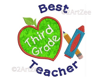 Third Grade Teacher Best Teacher Machine Embroidery Applique Design Apple Crayon Pencil Heart