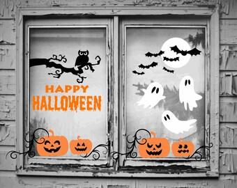 halloween window decorations halloween window decals halloween wall decals halloween wall decor - Halloween Wall Mural