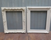 2 Ornate picture frames painted white & Distressed