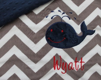Baby Blanket, personalized blanket, whale blanket, minky blanket, whale blanket 29 x 25