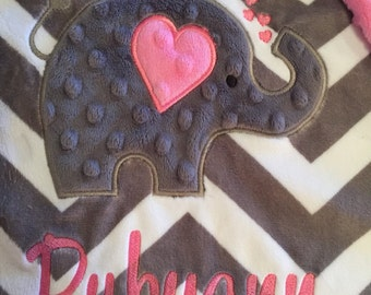 Baby blanket, Personalized blanket, Minky blanket 29 x 35, Elephant blanket