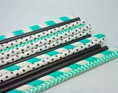 ROBIN'S EGG BLUE and black- Stripe Paper Straws - Paper Party Straws - Qty 25 - Black