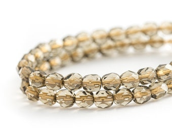 Gold Lined Light Smoky Topaz Faceted Round Spacer Beads, Transparent Fire Polished Czech Glass, 6mm x 25pc (0012)