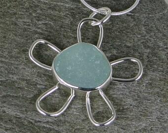Seafoam Sea Glass Flower Bezel Pendant Necklace