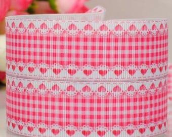 """3 yards 22 mm ( 7/8"""" ) Grosgrain Ribbon Pink Checkers Ribbon Bow Printed Ribbon Hair bow ribbon Sewing Ribbon Scrapbook"""