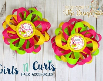 Boutique Style Loopy Flower Girls Hair Bow A Is For Apple Set Of TWO