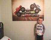 Bigfoot Vs. Awesome Kong Car Crush Photo Print,  Wall Decor, Playroom decor,  Kids Room, Nursery Ideas, Gift Ideas,