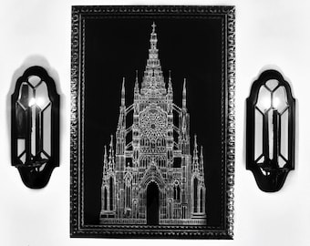 Gothic Cathedral Architecture Drawing - Ex Cathedra 20x30 Fine Art Religious Architectural Print - FREE SHIPPING to US