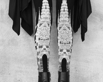 Gothic Architecture Cathderal Church Illustrated Dark Printed Black & White Fantasy Limited Edition Art Leggings sz S-XL