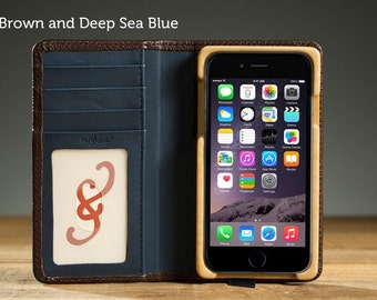 The Little Pocket Book Case for iPhone 7 - Brown and Deep Sea Blue