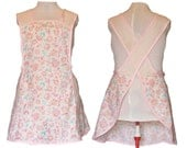 Full Kitchen Apron, Women's Plus Size Apron, No Tie Apron - Cream and Pink Flowers and Polka dots - Made to Order Sizes XL, 2X, 3X, 4X, 5X