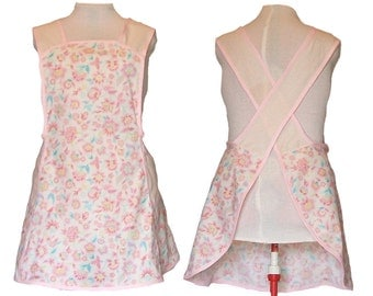 Full Kitchen Apron, Women's Plus Size Apron, No Tie Apron - Cream and Pink Flowers and Polka dots - Size 2X only