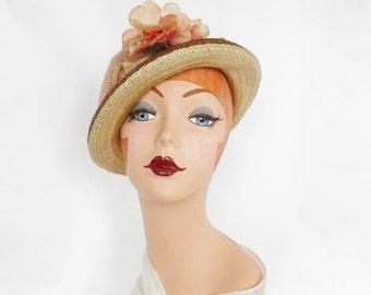 1930s tilt hat, vintage straw with pink rose, tulle