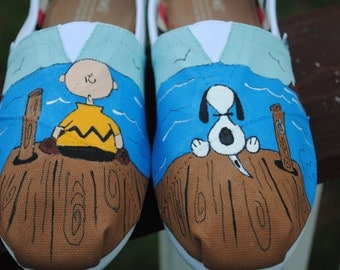 Custom Hand Painted Toms with Charlie Brown and Snoopy - Customer supplied the shoes sorry sold