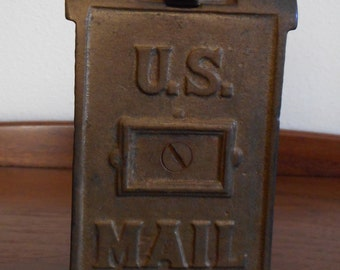 Cast Iron Mail Box Bank A.C. Williams Antique Penny Bank Bronze