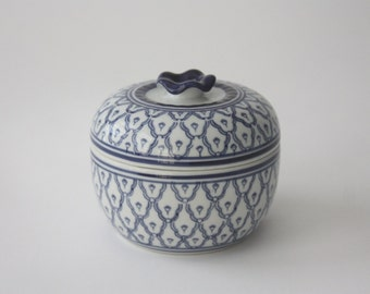 Round Vintage Blue and White Ceramic Box with Lid