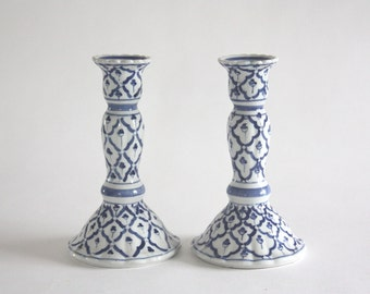 Vintage Pair of Blue and White Ceramic Candlesticks