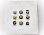 Unique 3D  Wall Decor - Art Pebble - Heart shaped rocks - stone art-  Heart shaped Beach rocks  L1