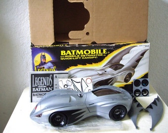 Complete 1994 Legends of Batman BATMOBILE with Fins, Lance-Missiles, Detonator and Quick-Lift Canopy