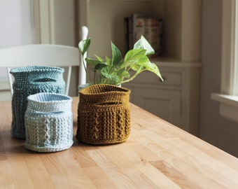 Crochet Cable Baskets PDF Pattern