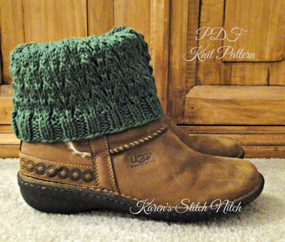 PDF PATTERN Knit Boot Cuff Leg Warmers for Teens or Adults in